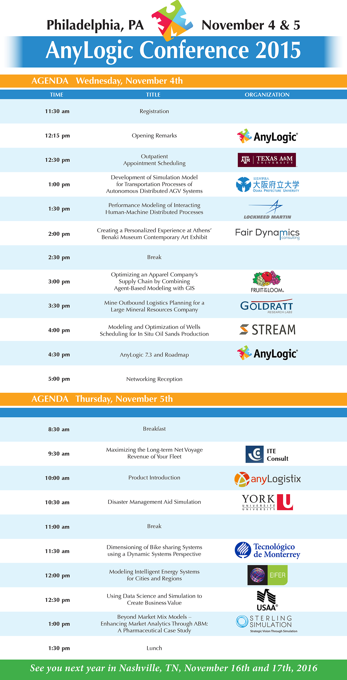 AnyLogic Conference 2015 Schedule